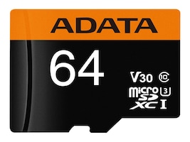 A-Data 64GB MicroSD UHS-I U3 Card with SD Adapter, Class 10, AUSDX64GUI3V30G-RA1, 36582807, Memory - Flash