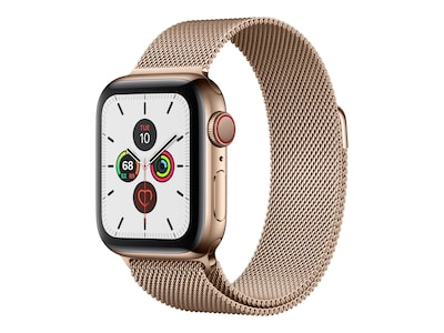 Apple Watch Series 5 GPS+Cellular, 40mm Gold Stainless Steel Case with Gold Milanese Loop, Watch5Cel-40GoldStStl-GoldML, 37523649, Wearable Technology - Apple Watch Series 4-5