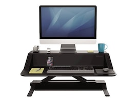 Fellowes 22.5h Lotus Sit Stand Adjustable Workstation, Black, 0007901, 33602067, Furniture - Miscellaneous