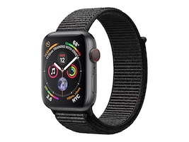 Apple Watch Series 4 GPS+Cellular, 44mm Space Gray Aluminum Case with Black Sport Loop, MTUX2LL/A, 36143628, Wearable Technology - Apple Watch Series 4
