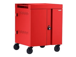 Bretford Manufacturing 32-Unit CUBE Cart AC with Back Panel, Red, TVC32PAC-RED, 33725104, Computer Carts