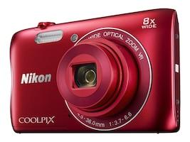 Nikon COOLPIX S3700 Digital Camera, Red, 26477, 32555094, Cameras - Digital