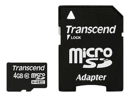 Transcend 4GB Micro SDHC Card, TS4GUSDHC10, 13471629, Memory - Flash