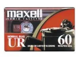 Maxell UR-60 Blank Audio Cassette Tape, 2-Pack, 109024, 15052137, Audio Tape Media