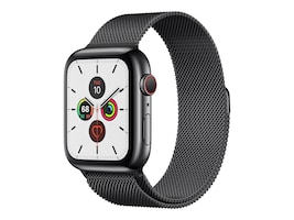 Apple Watch Series 5 GPS+Cellular, 44mm Black Stainless Steel Case with Space Black Milanese, MWW82LL/A, 37523753, Wearable Technology - Apple Watch Series 4-5