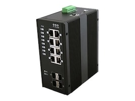 Black Box 8-Port GbE PoE+ RJ-45 Industrial Managed Switch w 4xSFP, LIE1014A, 32893712, Network Switches