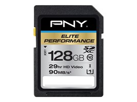 PNY 128GB SDXC UHS-I Flash Memory Card, Class 10, P-SDX128U395-GE, 20996247, Memory - Flash