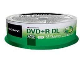 Sony DVD+R DL Media (25-pack), 25DPR85SP, 14717379, DVD Media
