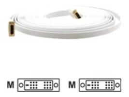 Kramer DVI to DVI M M Flat Cable, White, 10ft, C-DM/DM/FLAT(W)-10, 17833412, Cables
