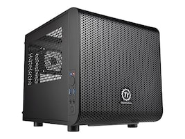 Thermaltake Chassis, Core V1 Mini Case Mini-ITX 2x3.5 Bays 2x2.5 Bays 2xSlots No PSU, Black, CA-1B8-00S1WN-00, 17675400, Cases - Systems/Servers