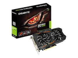 Gigabyte Tech GeForce GTX 1050 Windforce PCIe 3.0 x16 Overclocked Graphics Card, 2GB GDDR5, GV-N1050WF2OC-2GD, 32980517, Graphics/Video Accelerators