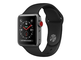 Apple Watch Series 3 GPS + Cellular, 38mm Space Gray Aluminum Case with Black Sport Band, MTGH2LL/A, 36141913, Wearable Technology - Apple Watch Series 1-3