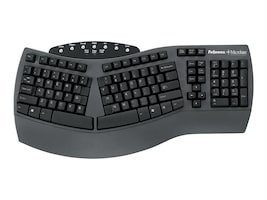 Fellowes Microban Split Design Keyboard, USB, Black, 98915, 5164688, Keyboards & Keypads