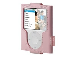 Belkin Leather Sleeve for iPod nano 3G - Cameo Pink, F8Z204-PNK, 8531789, Carrying Cases - iPod