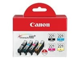 Canon CLI-221 4-Color Pack, 2946B004, 8976307, Ink Cartridges & Ink Refill Kits