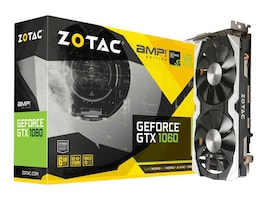 Zotac GeForce GTX 1060 PCIe 3.0 AMP! Edition Graphics Card, 6GB GDDR5, ZT-P10600B-10M, 32395220, Graphics/Video Accelerators