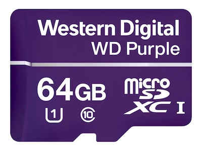 WD 64GB Purple Surveillance microSDXC Card, Class 10, WDD064G1P0A, 36749540, Memory - Flash