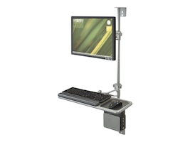 Balt Sit-Stand Wall Mount Workstation with Single Monitor Arm, 90377, 37143507, Wall Stations