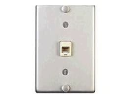 Leviton Telephone Wall Phone Wallplate Surface Mount Jack, Screw-Down Connection, Stainless Steel, C0256-0SS, 34472840, Premise Wiring Equipment