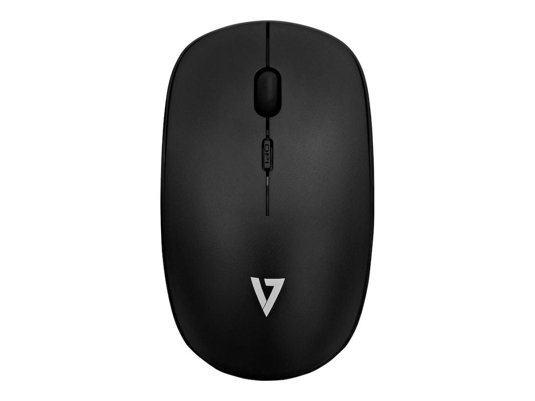 V7 Wireless 4-Button Optical Mouse w Adjustable DPI, Black