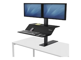 Fellowes Lotus VE Dual Display Steel Sit-Stand Workstation, Black, 8082001, 34960413, Furniture - Miscellaneous
