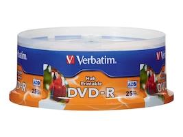Verbatim 16x 4.7GB White Inkjet Hub Printable DVD-R Disc, 96191, 11552732, DVD Media