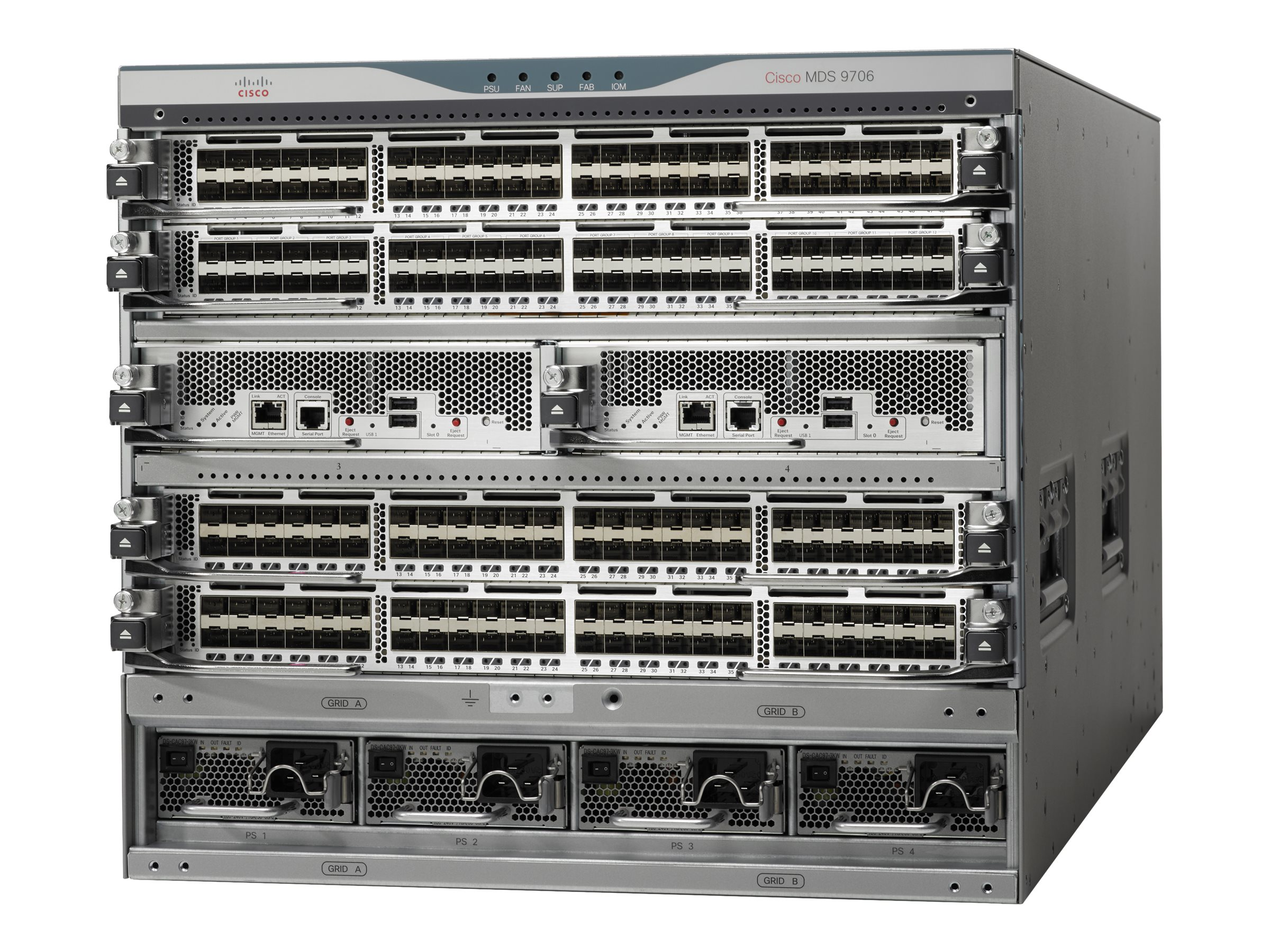Cisco MDS 9706 9U RM Multilayer Director Managed Switch 2xSupervisor slots  6xExpansion slots 4x3000W