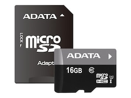 A-Data 16GB UHS-I MicroSDHC Flash Memory Card with Adapter, Class 10, AUSDH16GUICL10-PA1, 36427743, Memory - Flash