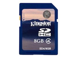 Kingston 8GB SDHC Memory Card, Class 4, SD4/8GB, 7539682, Memory - Flash