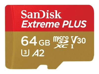 SanDisk 64GB Extreme microSD UHS-I Card, SDSQXA2-064G-AN6MA, 36189482, Memory - Flash
