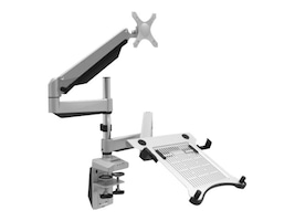 Loctek 2-in-1 Full Motion Gas Spring Dual Arm Desk Mount for 10-27 Monitors and Notebooks up to 17.3, D7DP, 35716463, Stands & Mounts - AV
