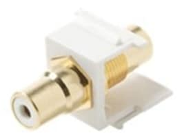Steren Snap-In RCA Jack Keystone Adapter w  Gold Yellow Insulator, White, 310-464WH, 35257623, Premise Wiring Equipment