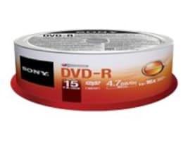 Sony 16x 4.7GB DVD-R Media (15-pack Spindle), 15DMR47SP, 15780919, DVD Media