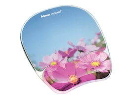 Fellowes Photo Gel Mouse Pad & Wrist Rest with Microban, Pink Flowers, 9179001, 15067304, Ergonomic Products