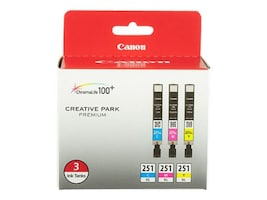 Canon CLI-251 XL 3 Color Pack, 6449B009, 15732538, Ink Cartridges & Ink Refill Kits - OEM
