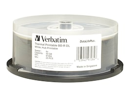 Verbatim 6x 50GB White Thermal BD-R DL Media (25-pack), 97284, 12633737, Blu-Ray Media