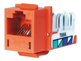 Hubbell SPEEDGAIN Xcelerator category 5E jacks, Orange, 25-pack, HXJ5EOR25, 348063, Premise Wiring Equipment