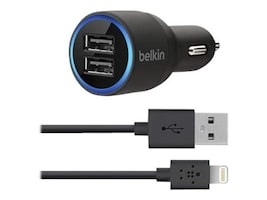 Belkin Dual USB Car Charger, (2) 2.1A, 4ft Lightning Cable, Black, F8J071BT04-BLK, 15230204, Automobile/Airline Power Adapters