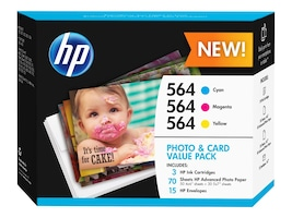 HP 564 Photo & Card Value Pack, J2X80AN#140, 17762079, Ink Cartridges & Ink Refill Kits - OEM