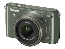 Nikon S1 Interchangable Lens Digital Camera, 10.1MP, Khaki with 11-27.5mm Lens, 27621, 15256586, Cameras - Digital