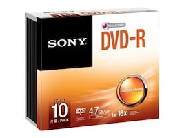 Sony DVD-R Media (10-pack Jewel Cases), 10DMR47SS, 15493231, DVD Media