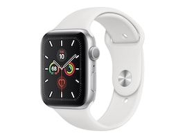 Apple Watch Series 5 GPS, 44mm Silver Aluminum Case with White Sport Band - S M & M L, MWVD2LL/A, 37523534, Wearable Technology - Apple Watch Series 4-5