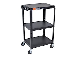 Luxor Adjustable Height Steel A V Cart - Three Shelves, AVJ42, 34594118, Computer Carts