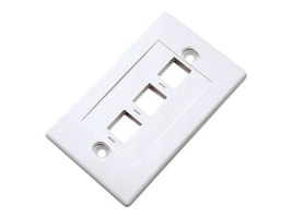 IC Intracom Int Wall Plate, 3-Outlet, White, 163309, 31827781, Premise Wiring Equipment