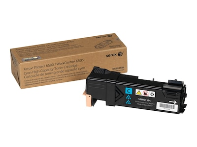 Xerox Phaser 6500 WorkCentre 6505, High Capacity Cyan Toner Cartridge (2,500 Pages), North America, EEA, 106R01594, 12487688, Toner and Imaging Components - OEM