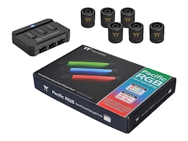 Thermaltake Pacific RGB G1 4 PETG Tube Fittings, 16mm OD 12mm ID, 6-Pack, CL-W133-CU00BL-A, 33182091, Cooling Systems/Fans