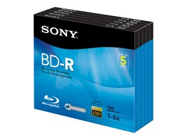 Sony 6x 25GB BD-R Media (5-pack Jewel Cases), 5BNR25R3H, 13302219, Blu-Ray Media