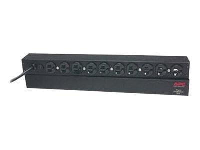 APC Rack PDU Basic 1U, 120VAC 15A, (10) 5-15R, 12ft Power Cord, AP9562, 452060, Power Distribution Units