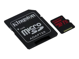 Kingston 128GB Canvas React MicroSDXC UHS-I Flash Memory Card with SD Adapter, Class 10, SDCR/128GB, 35243221, Memory - Flash