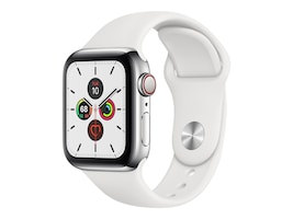 Apple Watch Series 5 GPS+Cellular, 40mm Stainless Steel Case with White Sport Band - S M & M L, MWWR2LL/A, 37523614, Wearable Technology - Apple Watch Series 4-5